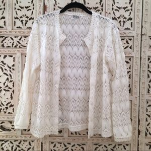 Vintage Ann Robin lace knit cardigan